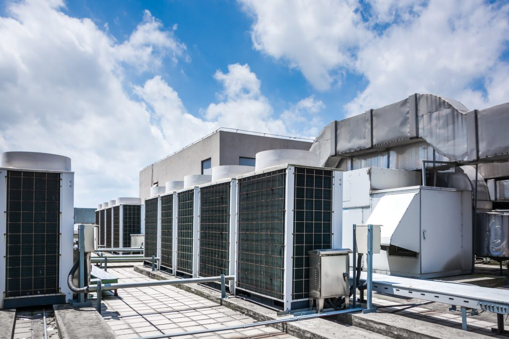 Commercial HVAC equipment on roof